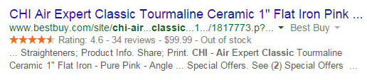 Best Buy Schema Markup Organic SERP Screenshot