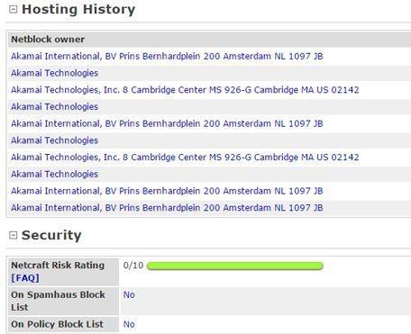 Netcraft Network History Screenshot