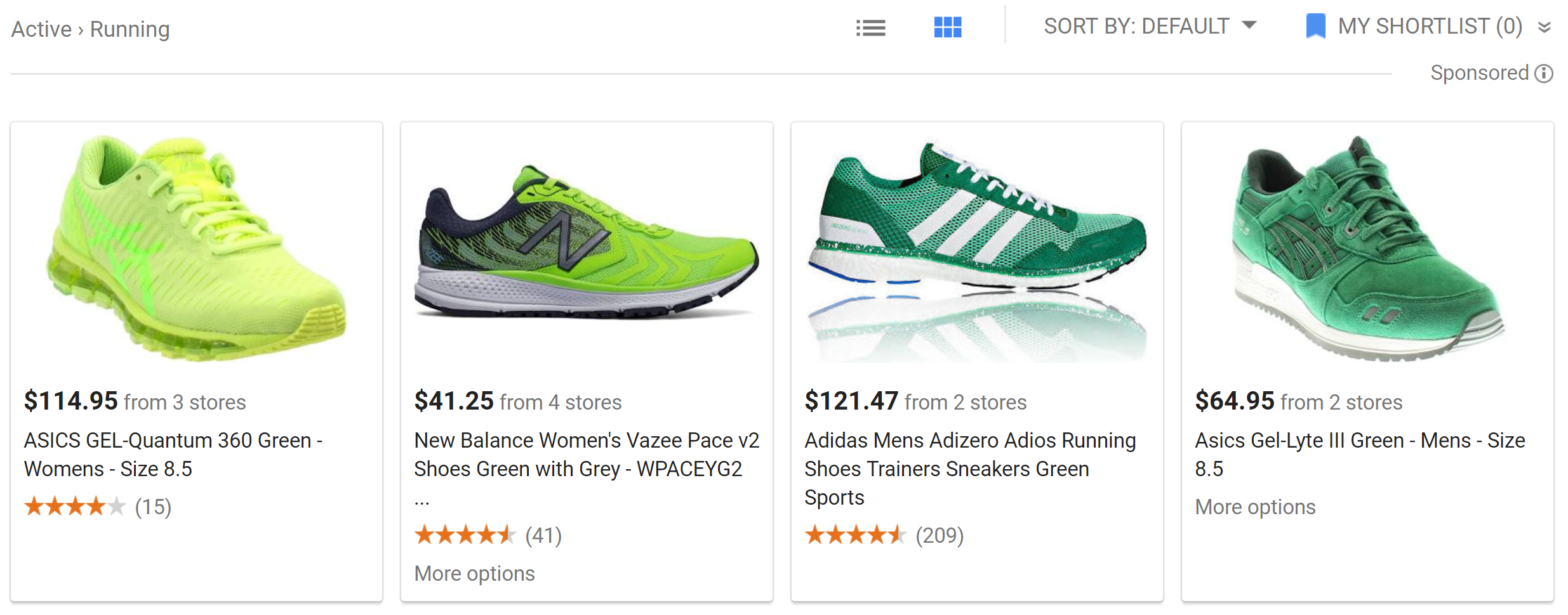 Google shopping shoe example