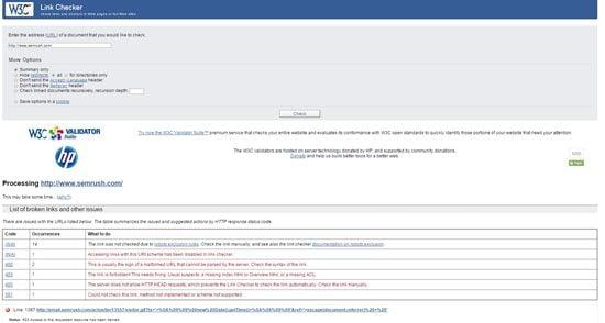 W3C Link Checker Screenshot