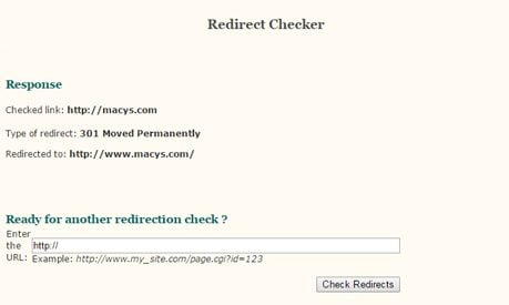 Redirect Checker Screenshot