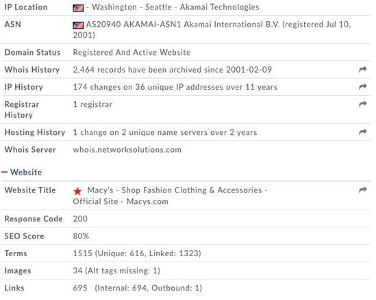 Domain Tools Macy's Screenshot