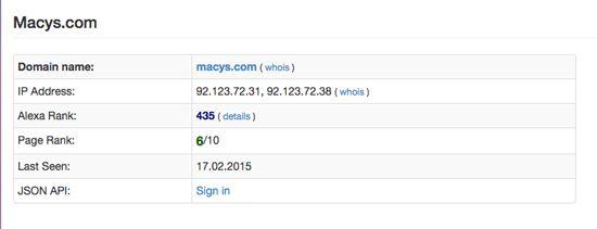 Domain Tools Site Ranking Screenshot - Macy's