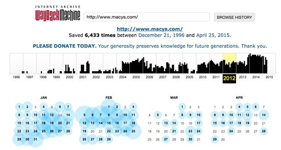 Wayback Machine Macy's Capture History
