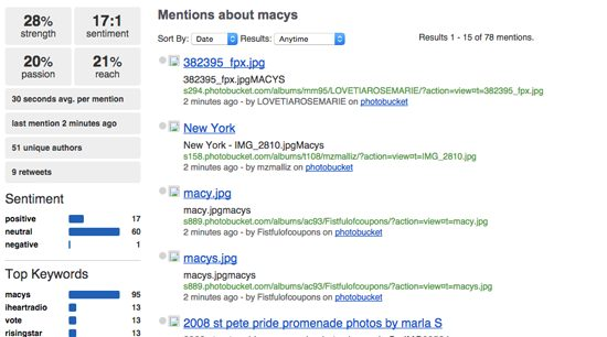 Socialmention Screenshot - Macys mentions