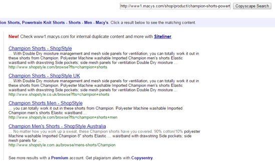 Copyscape Duplicate Content Screenshot