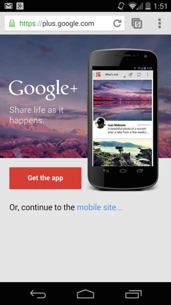 Google Plus Interstitial