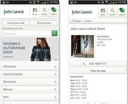 john lewis location app