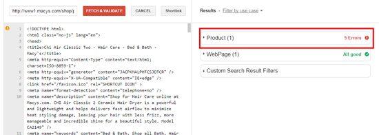 Google Markup Validator Macy's Screenshot