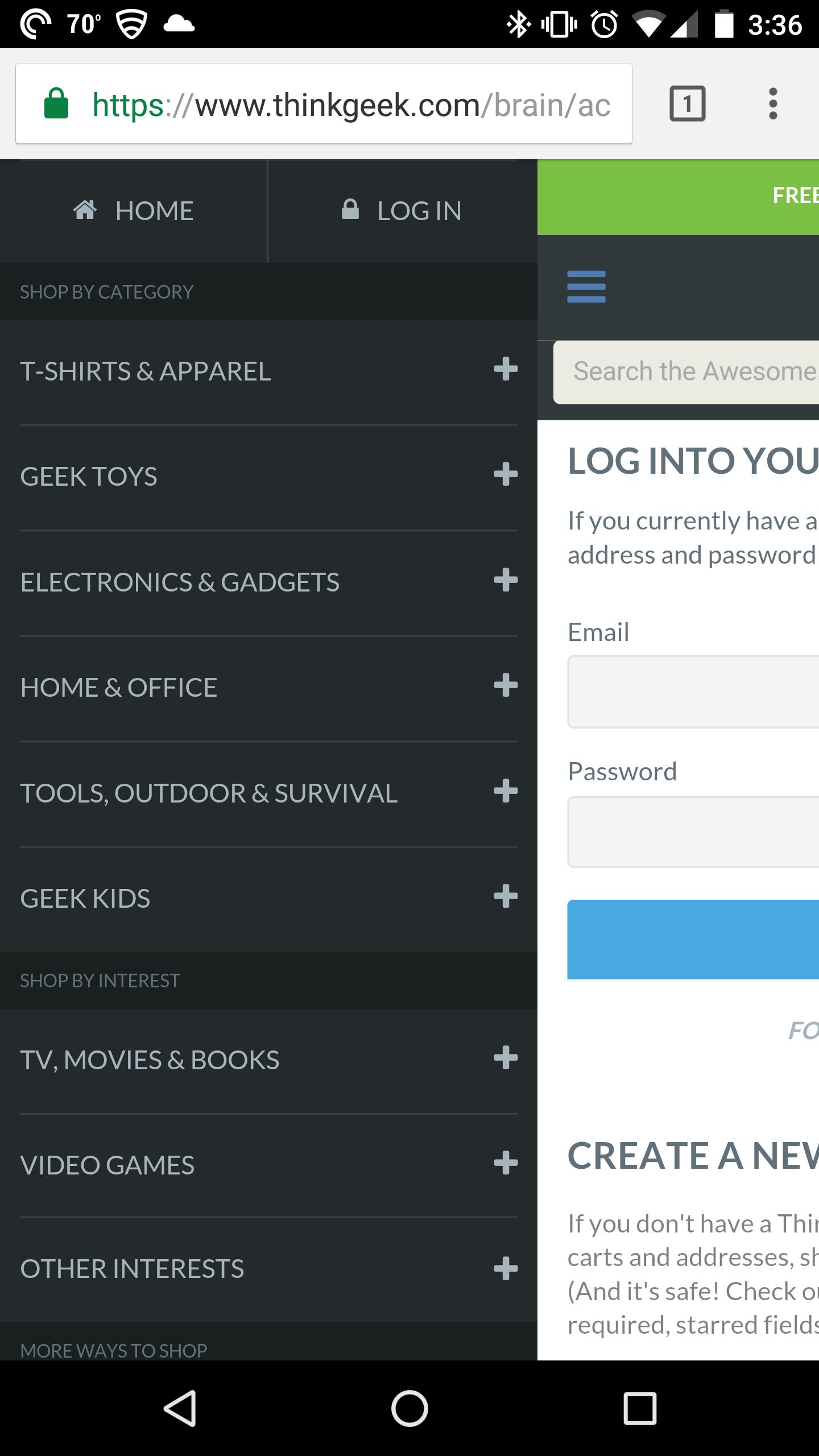 think geek customer menu