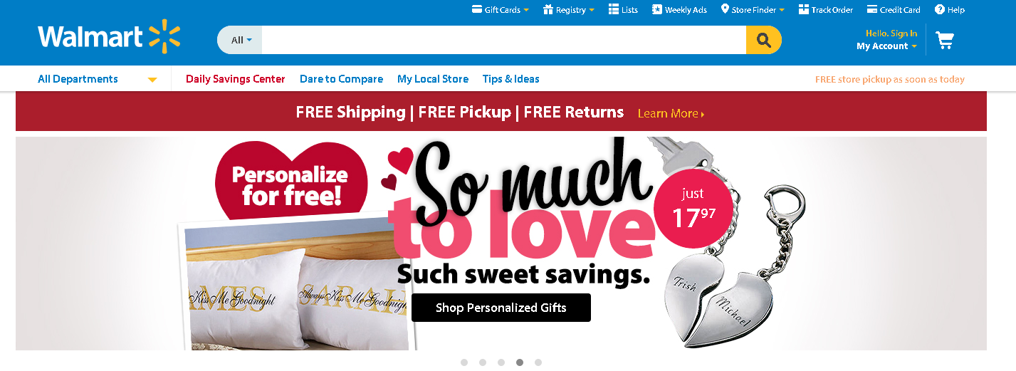 Wal-Mart's header based site search presentation